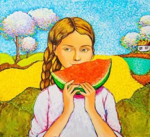 Девочка с арбузом (художник Л.Шевчук)