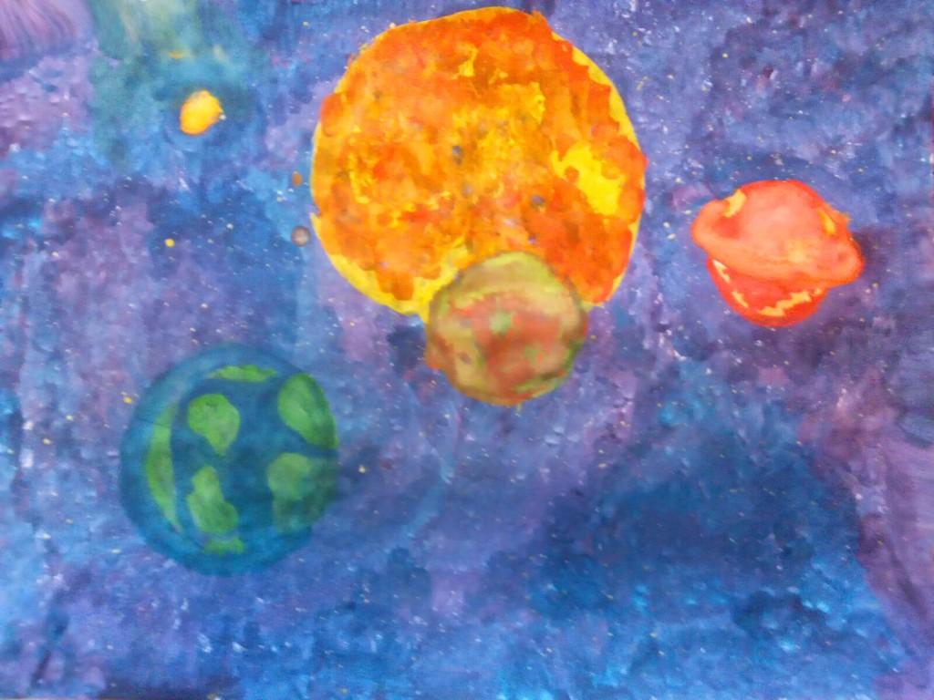 11-ти річня Ксюша намалювала всесвіт з планетами