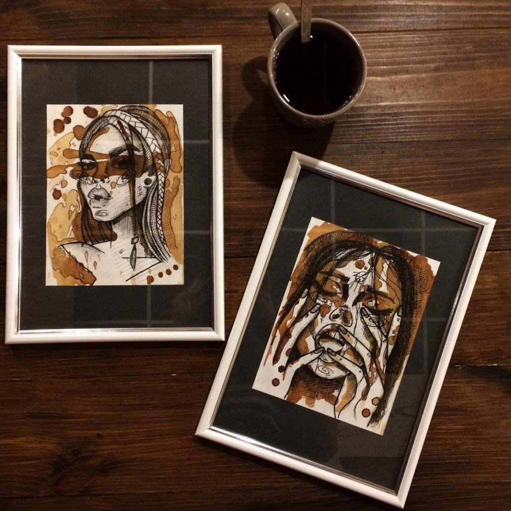 картина з чаю запорізької чайної художниці Марії Fox. Фото з інтернету