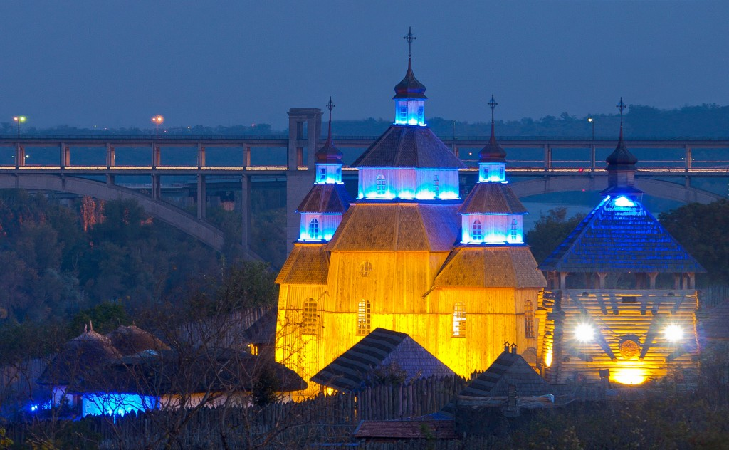 Evening view of Zaporozka Sich cossacks fortress historical tour