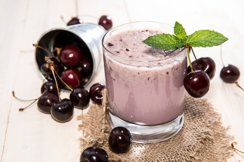 Cherry Milkshake with fresh fruits